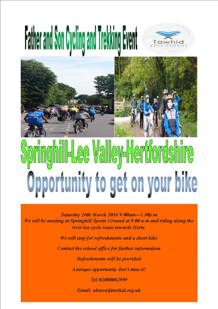 father and son event cycling and hiking March 2016