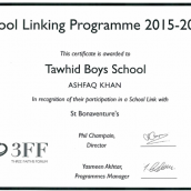 TAWHID AWARDED BY THREE FAITH FORUM