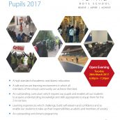 OPEN EVENING TUESDAY 28th MARCH 2017 6:00PM-7:30PM